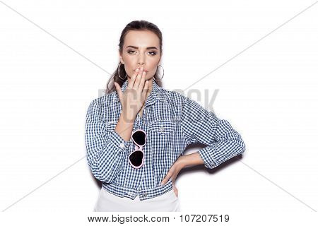 Young Sexy Woman In Sunglasses On White Background