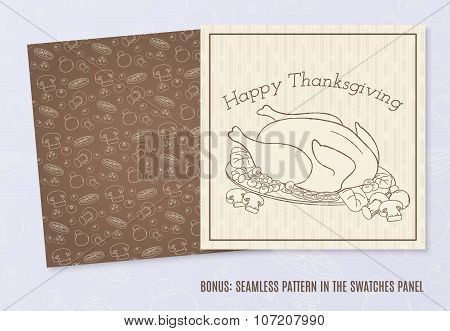 Vector Template With Hand Drawn Thanksgiving Elements