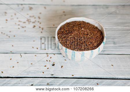 Bowl With Flax Seeds