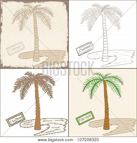 Set of Four Isolated Palm Trees