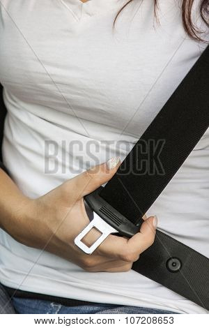 Woman And Safety Belt