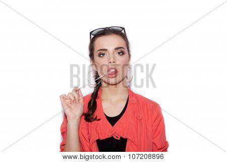 Beautiful Brunette Woman. Blowing Bubble Gum.