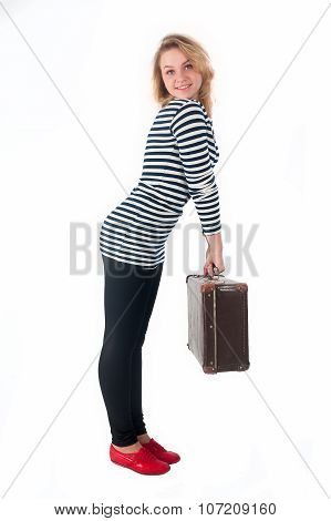 Pretty young woman with suitcase