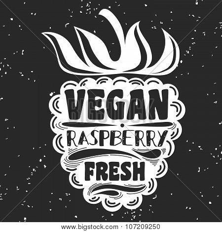Vegan Typographic Print With Raspberry.