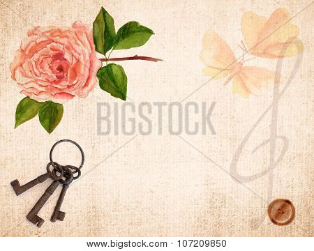 Collage of vintage-styled watercolour drawings of pink tea rose with butterflies and musical key