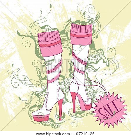 Fashion Illustration Of A Pair Of Women's High Boots