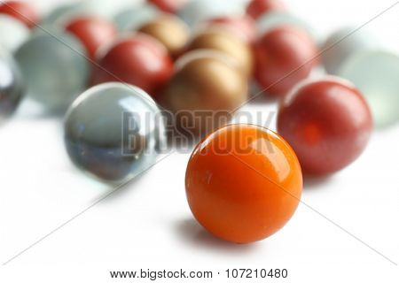 Different balls isolated on white, individuality concept