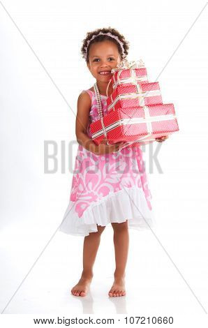 Full Length Mulatto Girl With Gift Boxes In Hands On A White Background.