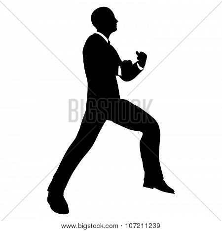 Businessman Silhouette In Gorilla Pose