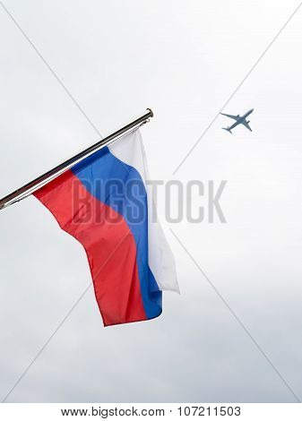 Russian Flag And Aircraft