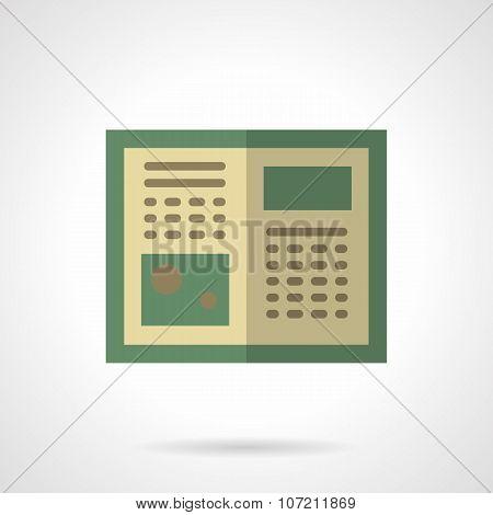 Green tutorial flat color vector icon