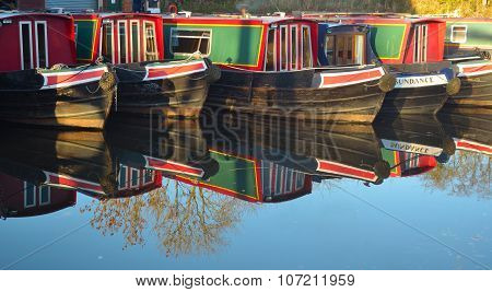 Narrow boats moored at Wrenbury on the Llangollen canal