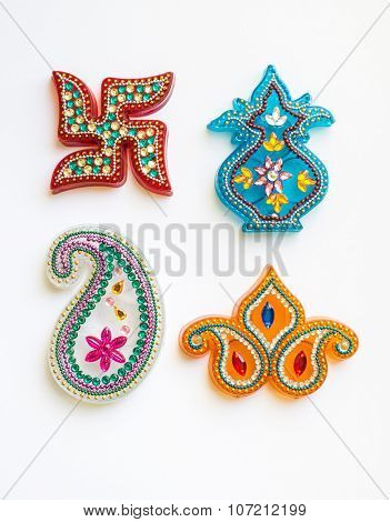 Indian religious symbols and motifs in various shapes and sizes. Isolated image.