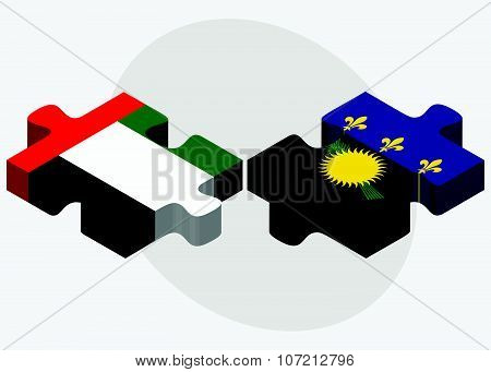 United Arab Emirates And Guadeloupe Flags