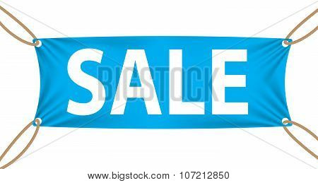 Textile banners with Sale Text Suspended by Ropes on all Four Co