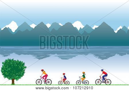 Family On Bicycles. Family Sports.