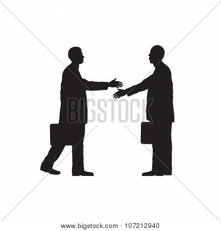 Black Silhouettes Of Two Businessmen. Handshake.