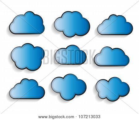 Set of Flat Cloud Shaped Frames with Long Shadows Vector Illustr