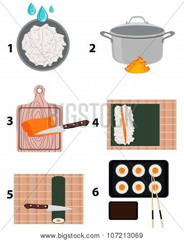 Cooking sushi maki. Step by step instruction. Vector illustration