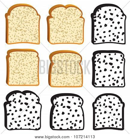 Vector Collection Of White Bread Slices And Icons