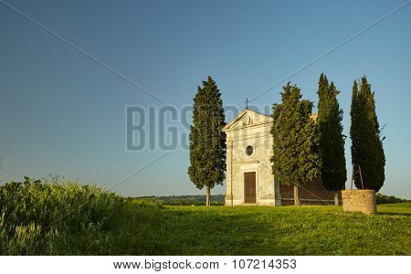 Little chapel surrounded by cypress trees. Tuscany, Italy