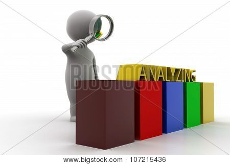 3D Man Searching Analyzing  Concept