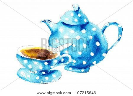 Watercolor Blue Kettle And Cup