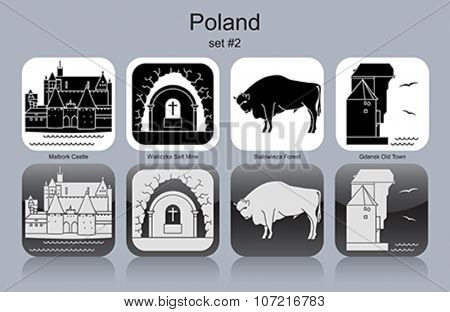 Landmarks of Poland. Set of monochrome icons. Editable vector illustration.