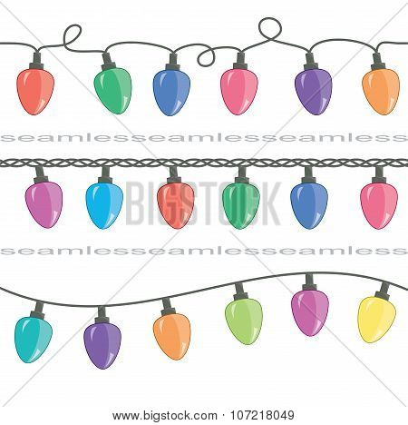 Vector Seamless Strings Of Christmas Light Lamps