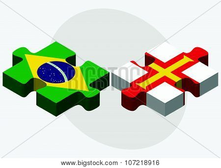 Brazil And Guernsey Flags