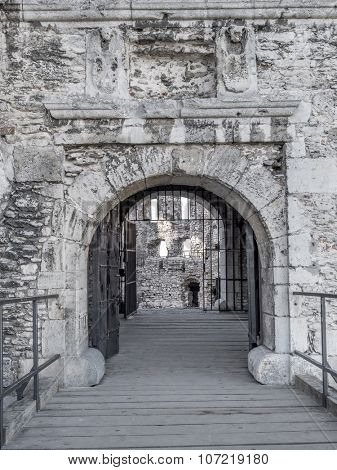 The entry gate of the ruins of medieval castle Ogrodzieniec, located on the Trail of the Eagles' Nest within the Krakow-Czestochowa Upland, Poland