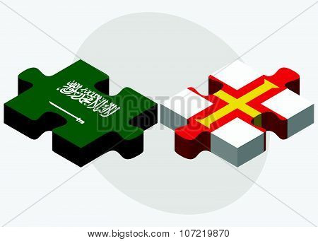 Saudi Arabia And Guernsey Flags