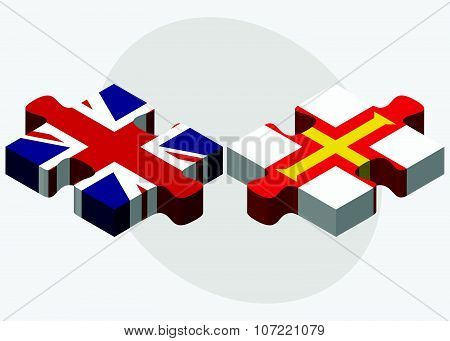 United Kingdom And Guernsey Flags