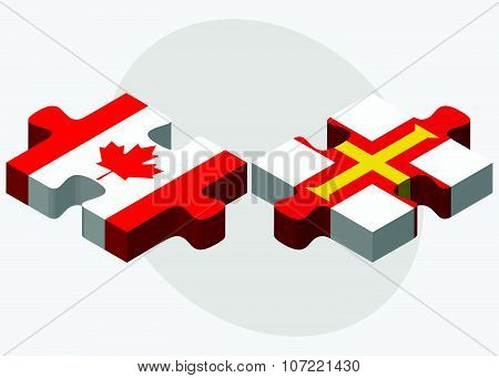 Canada And Guernsey Flags