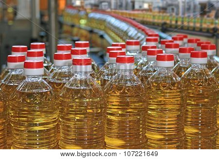 Sunflower oil in the bottle