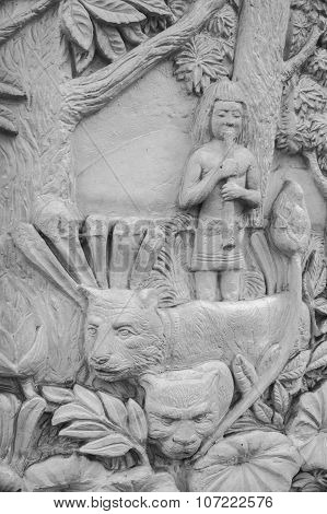 The Stucco Bas-relief In Thai Stlye