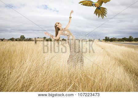 Fashionable Model In A Meadow