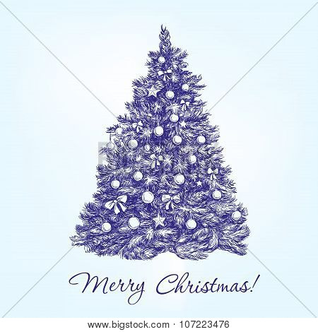 christmas tree  with balls hand drawn vector llustration  realistic  sketch