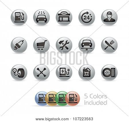 Gas Station Icons // Metal Round Series -- The vector file includes 5 color versions for each icon in different layers.