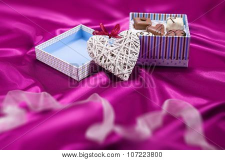 Box With Chocolates Candies And Heart