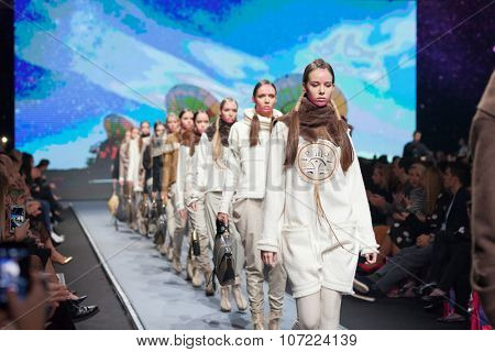 ZAGREB, CROATIA - OCTOBER 31, 2015: Fashion models wearing clothes designed by Marina Design and a bag designed by Marija Ivankovic on the 'Fashion.hr' fashion show