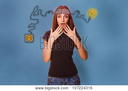 girl surprised hands at the mouth of the brain initiates a charg