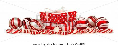 Red and white Christmas border with gifts, baubles and candy