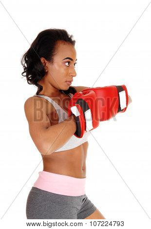 African American Woman With Boxing Gloves.