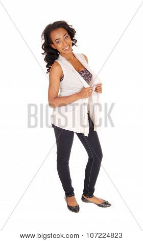African American Woman Standing In Jeans.