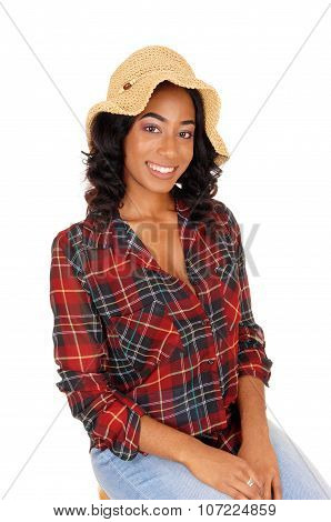 African American Woman With Straw Hat.