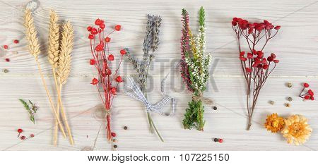 dried flowers on wooden background