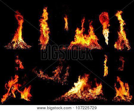 Bonfire Set On Black Background