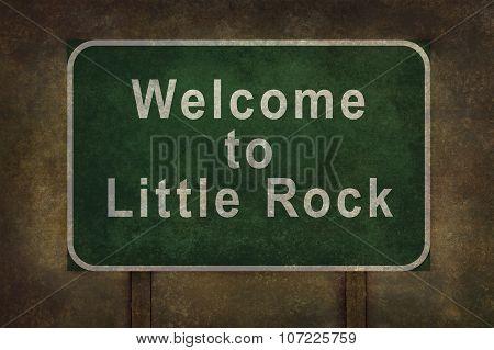 Welcome To Little Rock Roadside Sign Illustration