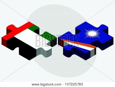 United Arab Emirates And Marshall Islands Flags